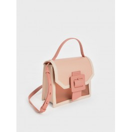 Charles Keith See Through Effect Buckled Bag Nude