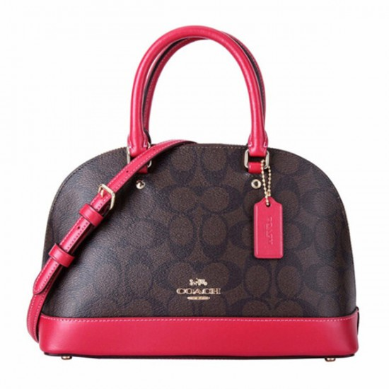 Coach Sierra Mini Domed Khaki Rose Gold Leather Satchel